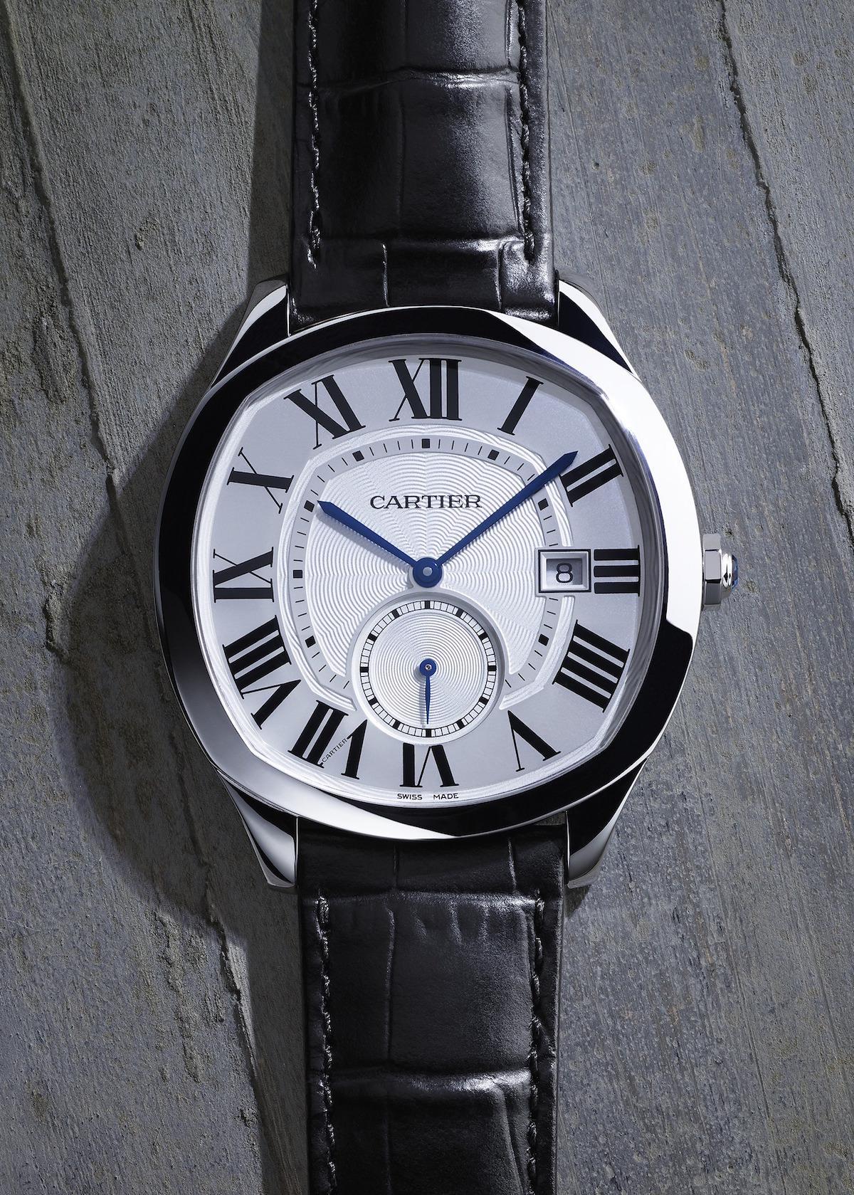 Cartier Drive de Cartier mit zwei Zeigern und kleiner Sekunde in Edelstahl