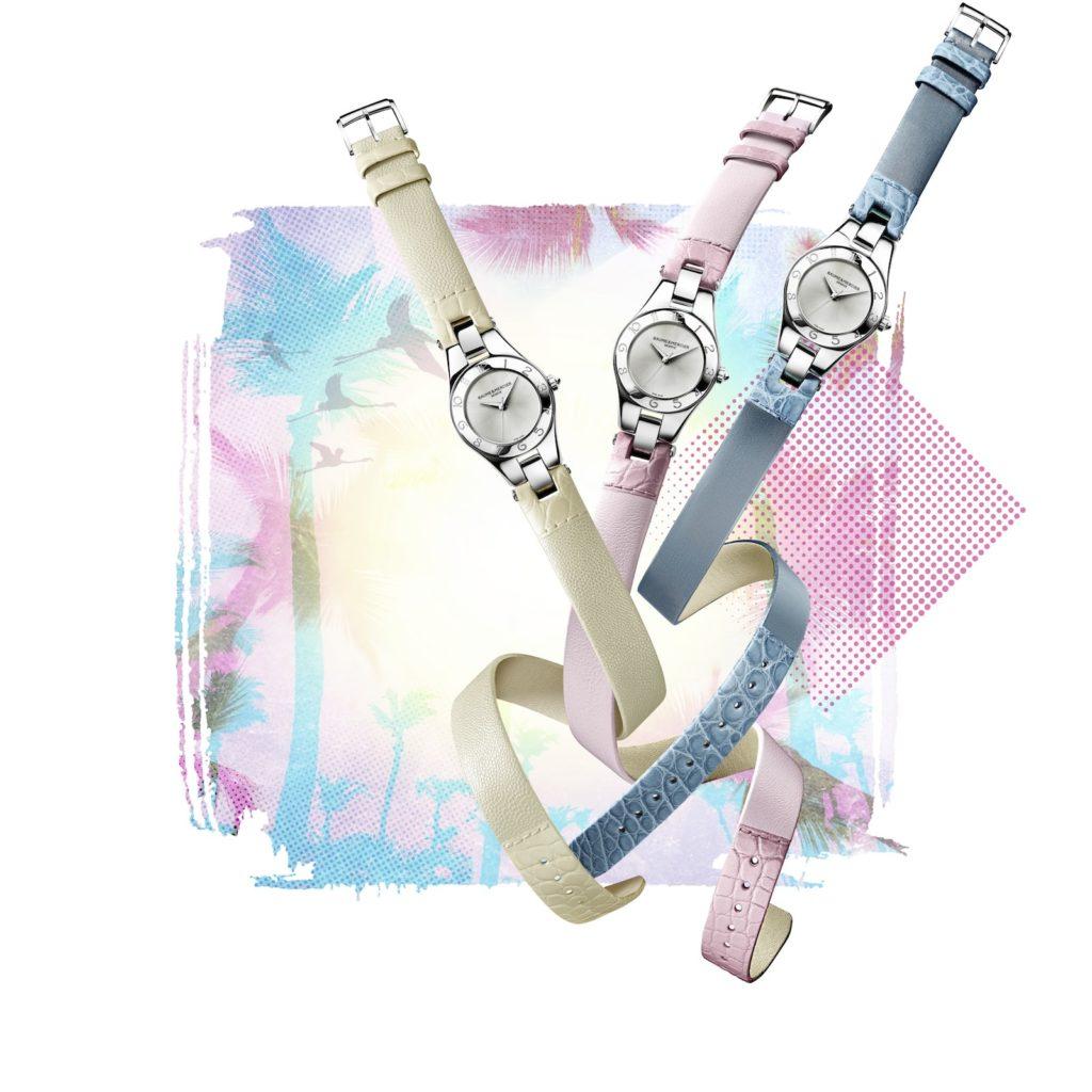 Die limitierte Sommer 2016 Edition der Linea von Baume & Mercier mit drei auswechselbaren Wickelarmbändern in soften Pastellfarben und einem 27 mm Edelstahlgehäuse