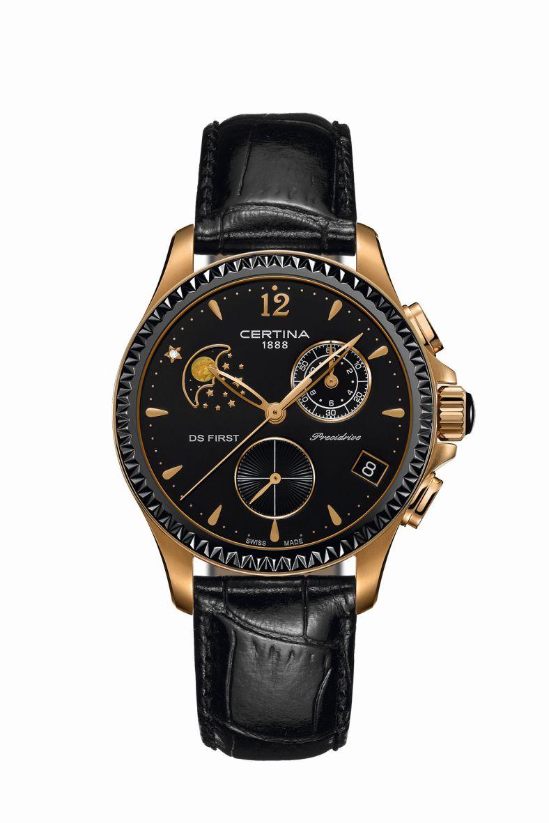 Die Kombination der schwarzen Keramiklünette mit dem roségoldenem Gehäuse aus PVD-Beschichtung verleiht der Uhr sportliche Eleganz. Preis: ca. 830 Euro.