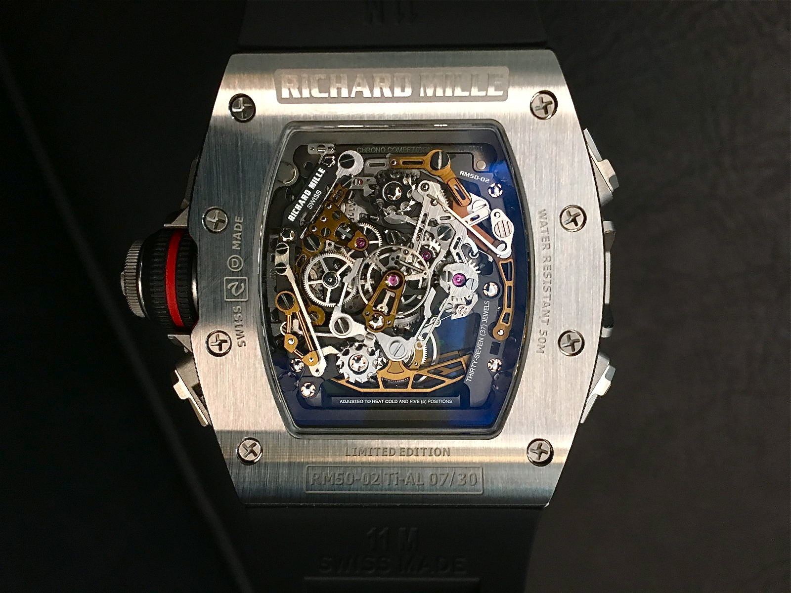 Rückseite des Richard Mille RM 50-02 ACJ Tourbillon Split Seconds Chronographen.