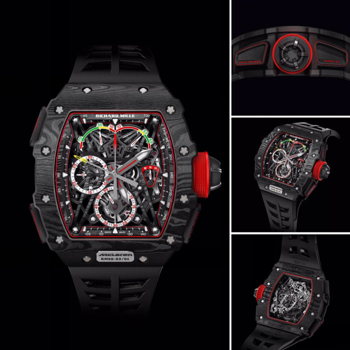 Die RM 50-03 McLaren F1 ist der leichteste mechanische Chronograph der Welt, wiegt inklusive Armband 40 Gramm, das Werk wiegt nur 7 Gramm