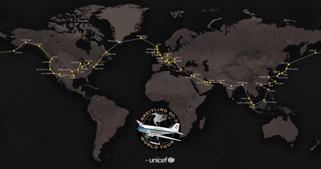 Breitling DC-3 World Tour - Map