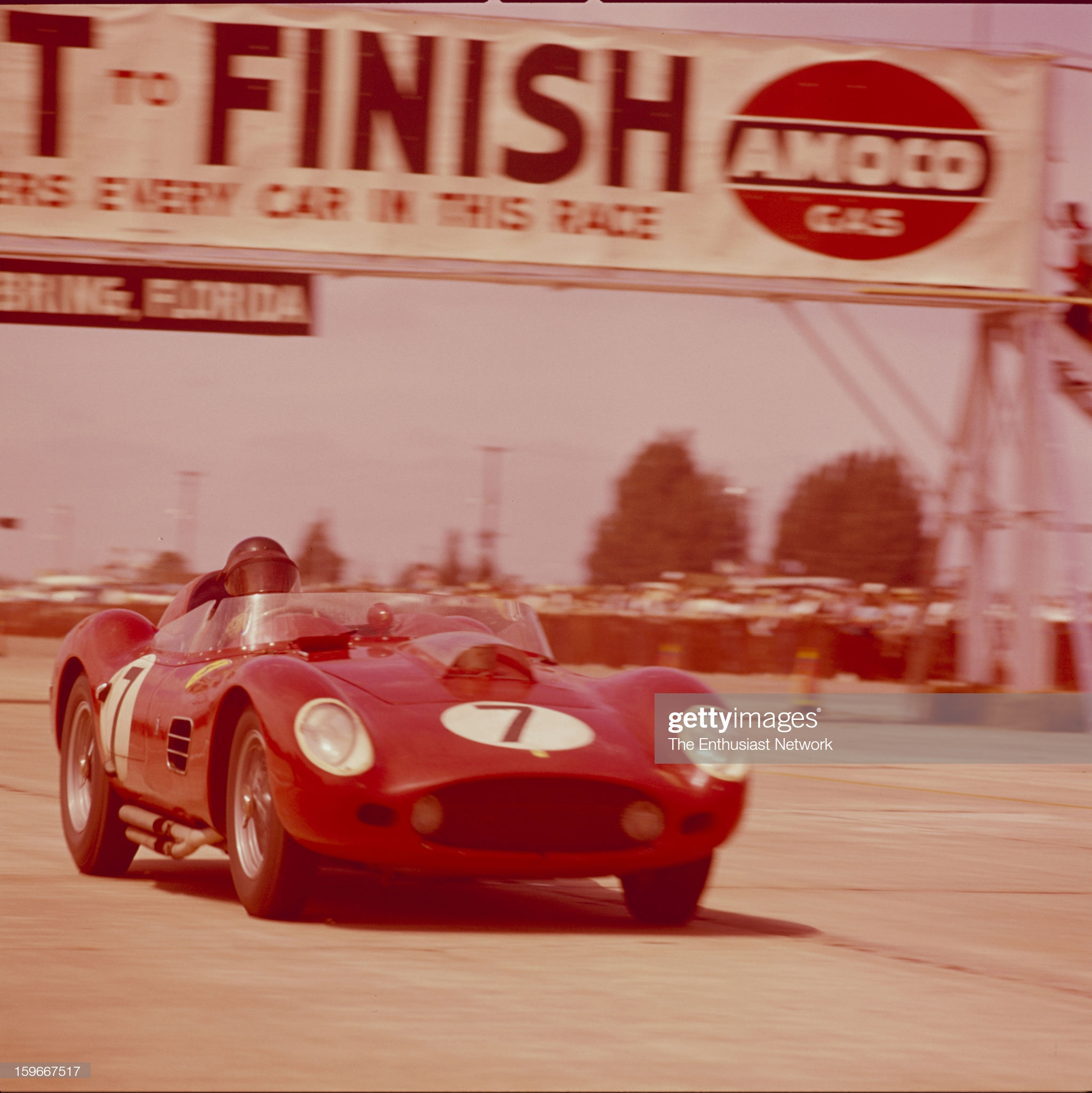 Dan Gurney at the 12 Hours of Sebring 1959, with his Ferrari 250 Testarossa - Photo by Bob D'Olivo/The Enthusiast Network via Getty Images/Getty Images