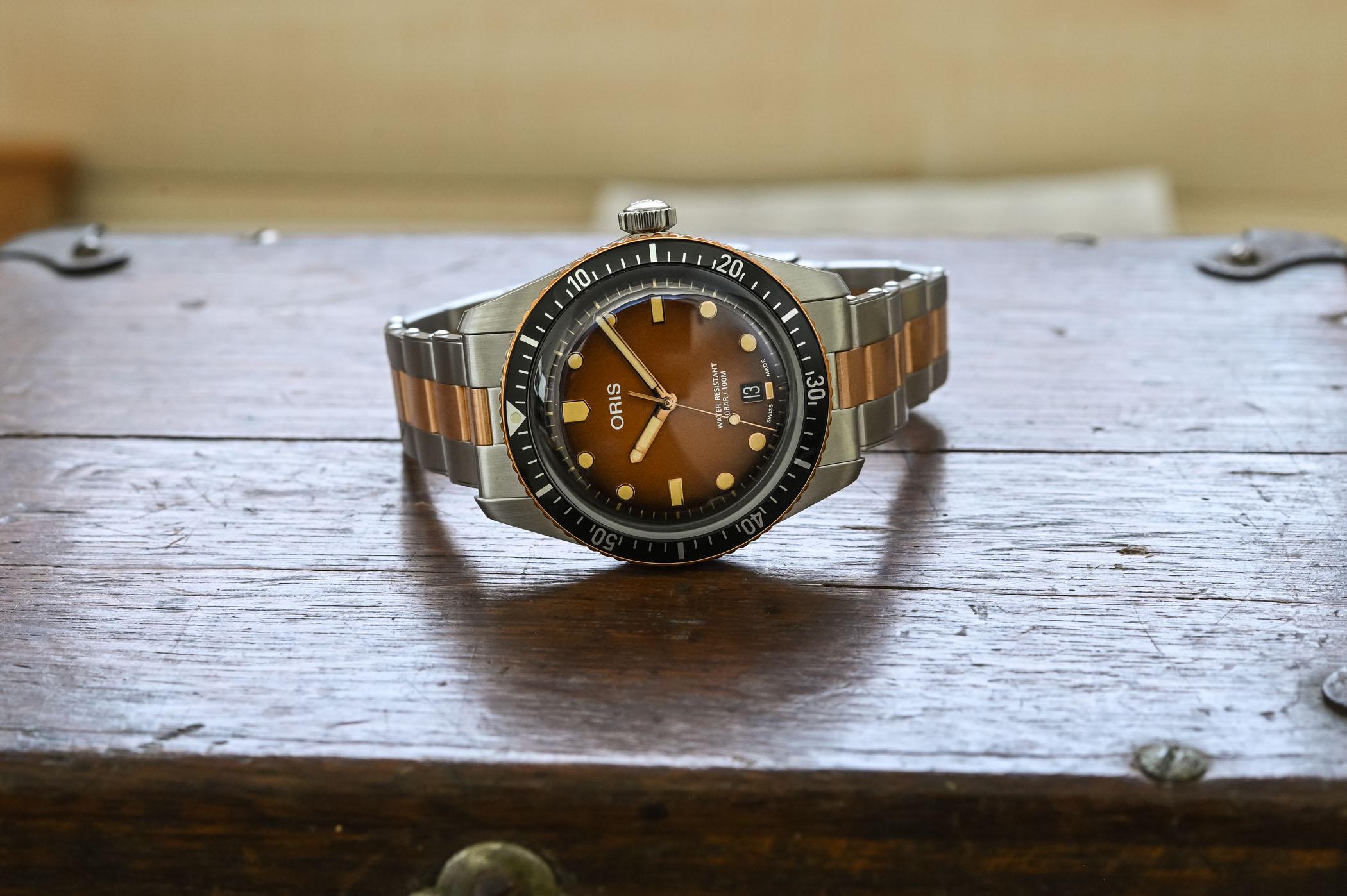 Oris Divers Sixty-Five Sunset Brown Gradient Steel-And-Bronze