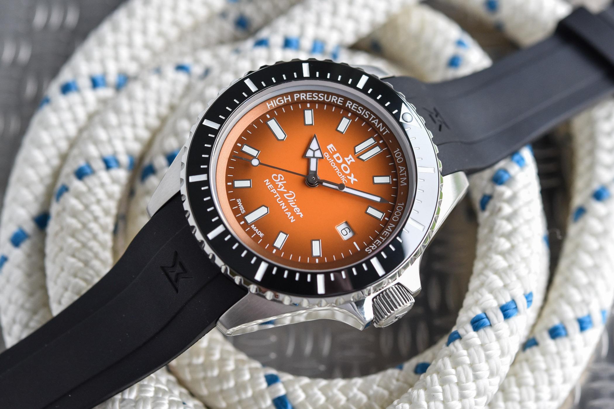 Edox SkyDiver Neptunian Orange Dial Deep Dive Watch